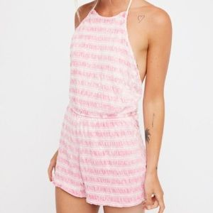 Free People Pink and white strip  Romper Size M